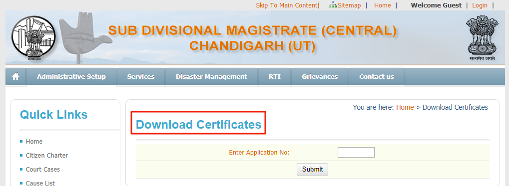 Chandigarh Solvency Certificate - Download Certificate