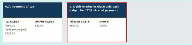 Debit entries in electronic cash ledger for TCS,interest payment.