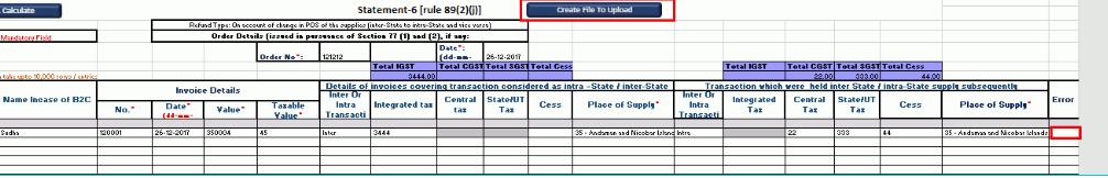 GST Refund- Intra-State Supply & Inter-State Supply-Upload-File