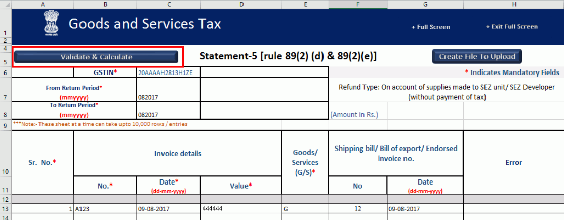 GST-Refund-Supply-to-SEZ-Invoice-Details