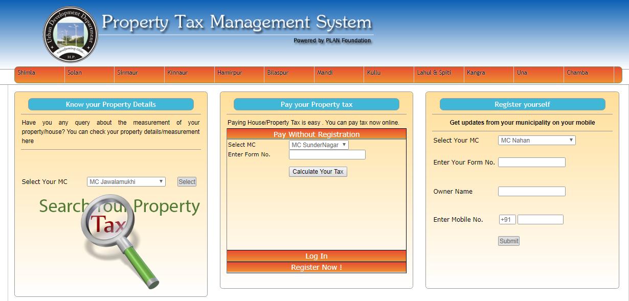 Himachal Pradesh Property Tax - Online Payment