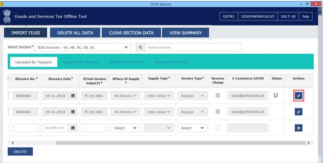 Image 10 Modify GSTR 1 Return File Using Returns Offline tool