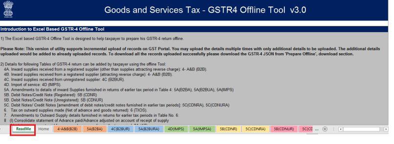 GSTR 4 Return Filing - Offline Utility - GST Portal