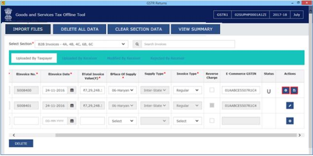 Image 11 Modify GSTR 1 Return File Using Returns Offline tool