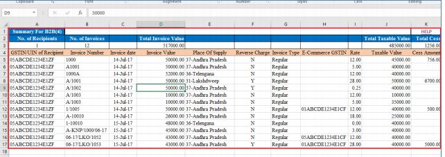 Image 11 Procedure to File GSTR 1 using Returns Offline Tool