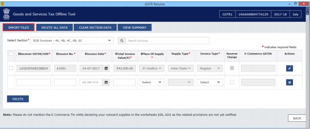 Image 12 Procedure to File GSTR 1 using Returns Offline Tool