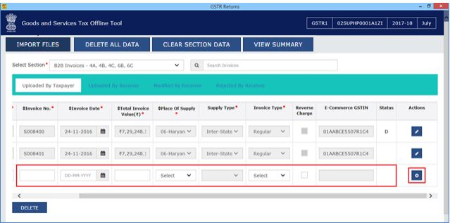 Image 14 Modify GSTR 1 Return File Using Returns Offline tool