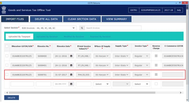 Image 15 Modify GSTR 1 Return File Using Returns Offline tool