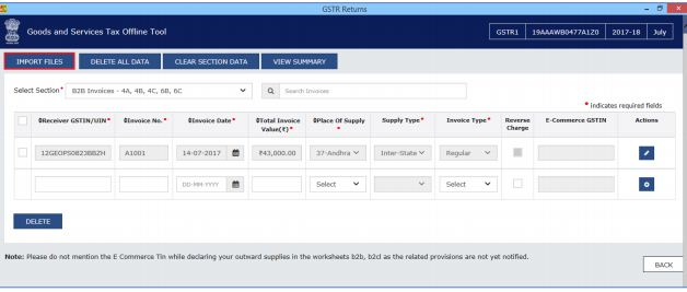 Image 16 Procedure to File GSTR 1 using Returns Offline Tool