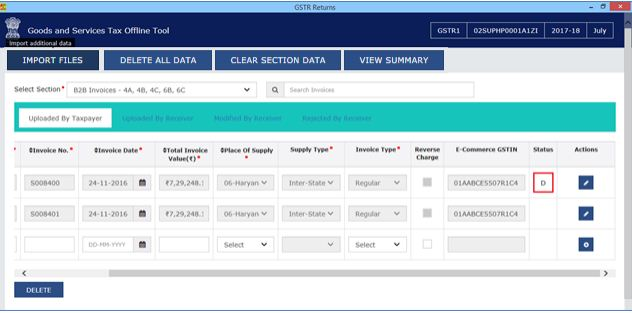 Image 17 Modify GSTR 1 Return File Using Returns Offline tool