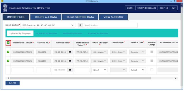 Image 18 Modify GSTR 1 Return File Using Returns Offline tool