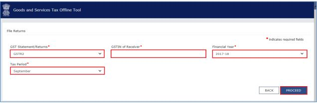 Image 2 GSTR 2 Filing using Returns Offline Tool