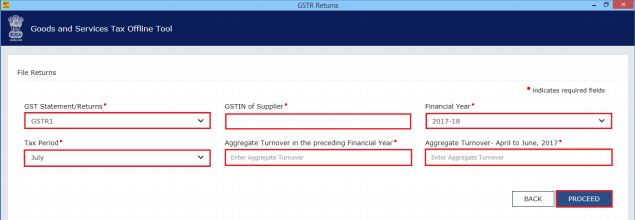 Image 2 Procedure to File GSTR 1 using Returns Offline Tool