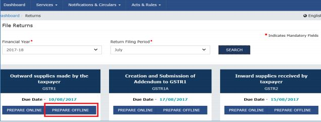 Image 25 Procedure to File GSTR 1 using Returns Offline Tool