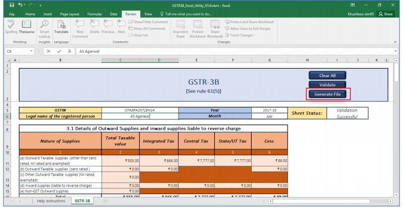 Image 29 GSTR 3B Offline Utility