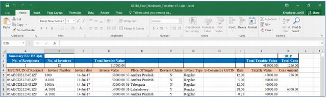 Image 7 Procedure to File GSTR 1 using Returns Offline Tool