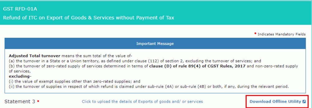 Input Tax Credit Refund - For Exports - IndiaFilings