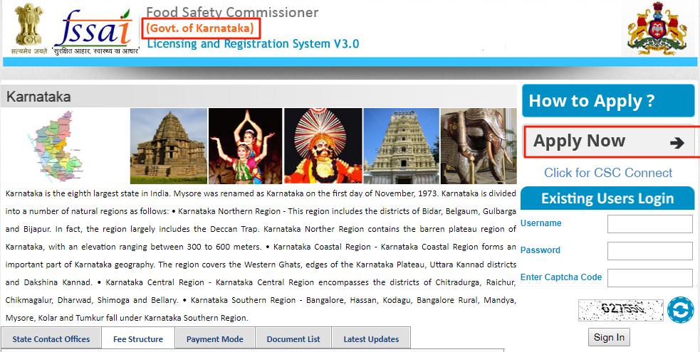 Karnataka FSSAI Registration and License - HomePage