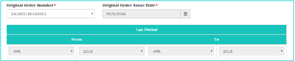 Orginal Order Issue Date and Tax period