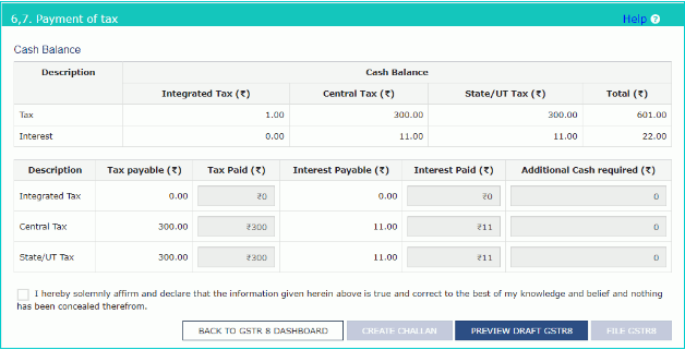 Payment of Tax page