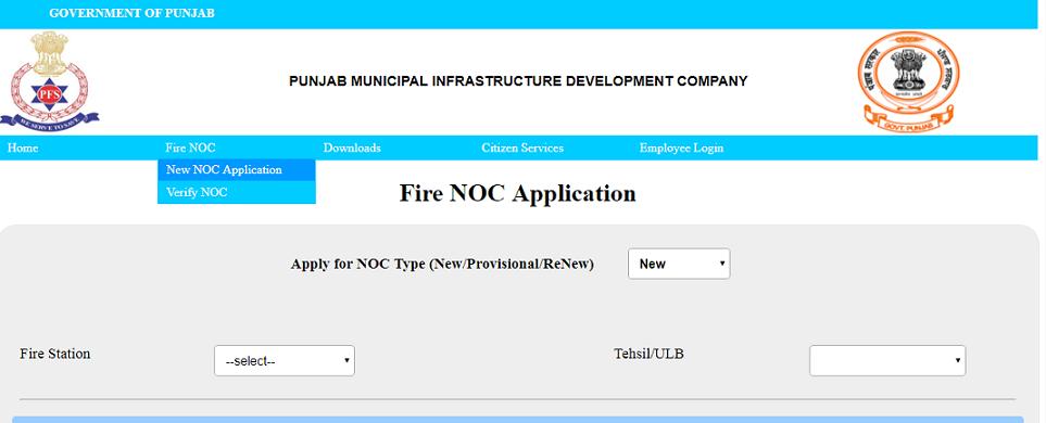 Punjab Fire Noc - New application
