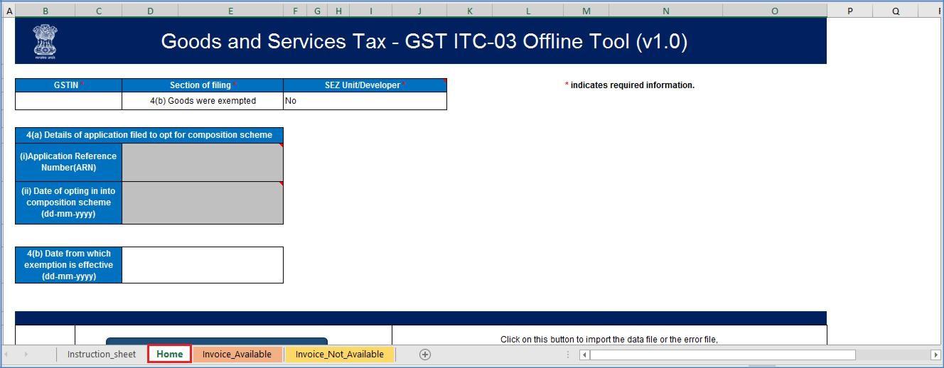 Step 1- Offline Filing of Form GST ITC-03