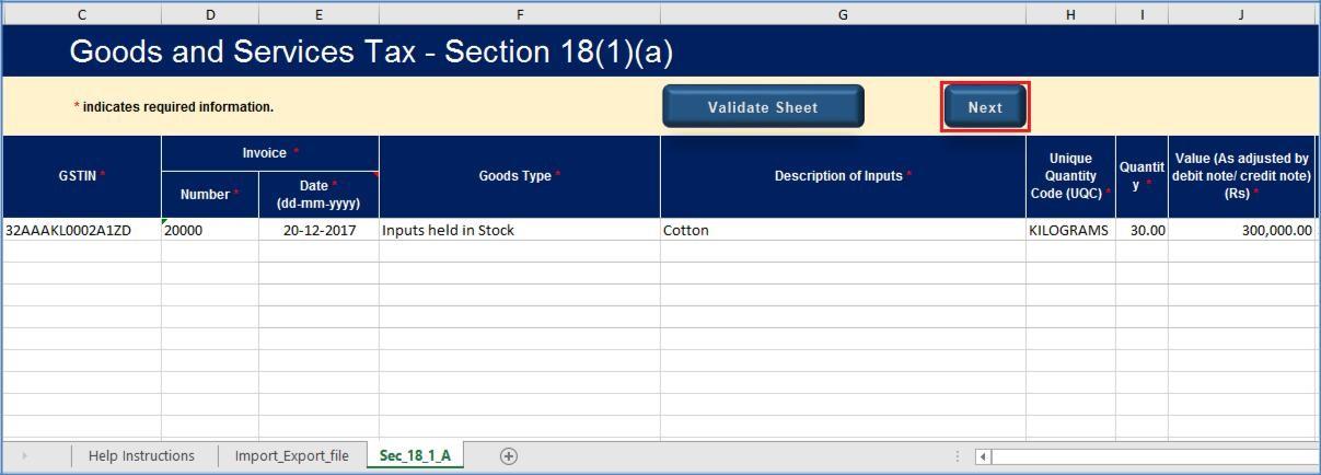 Step 10- Form GST ITC-01 Offline Tool