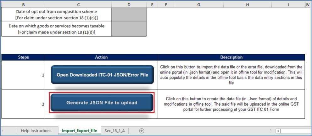 Step 11- Form GST ITC-01 Offline Tool