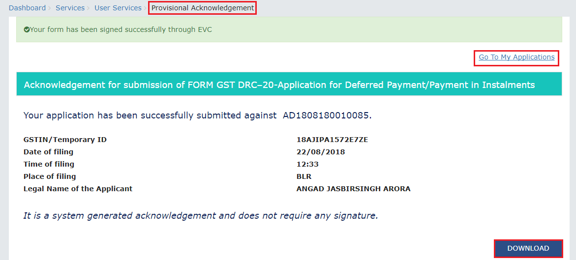 Step 12-Applying for Deferred Payment of GST
