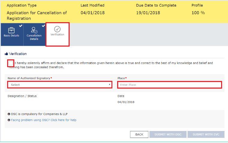 Step 13 - Cancellation of GST Registration