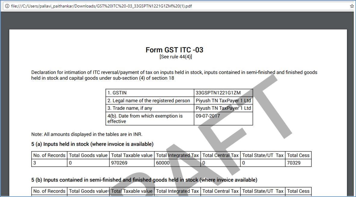 Step 14- Offline Filing of Form GST ITC-03