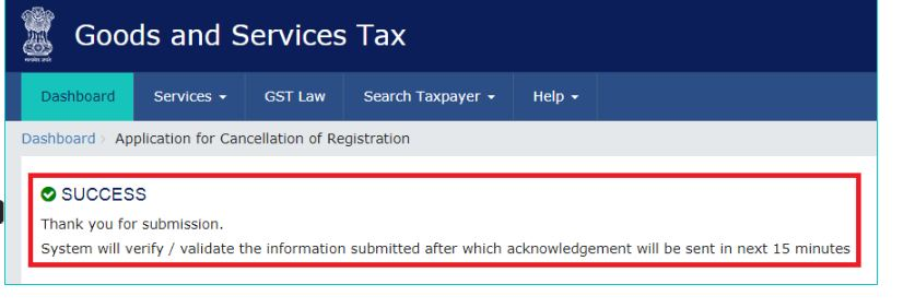 Step 19 - Cancellation of GST Registration