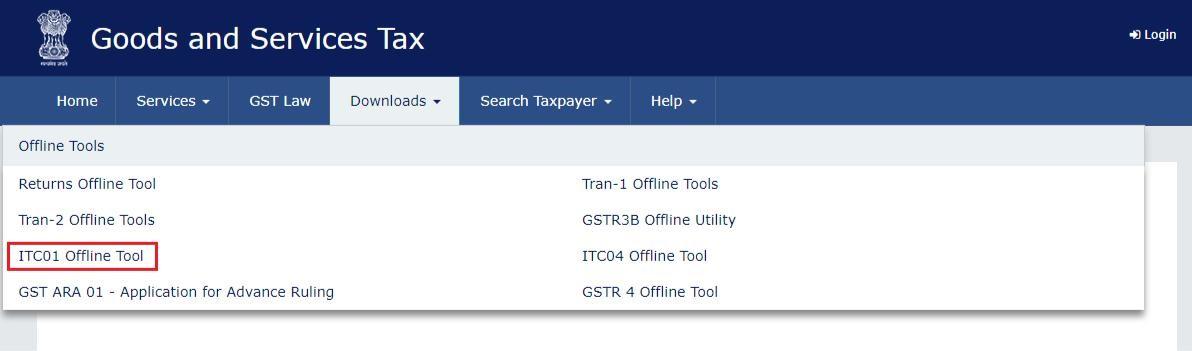 Step 2- Form GST ITC-01 Offline Tool