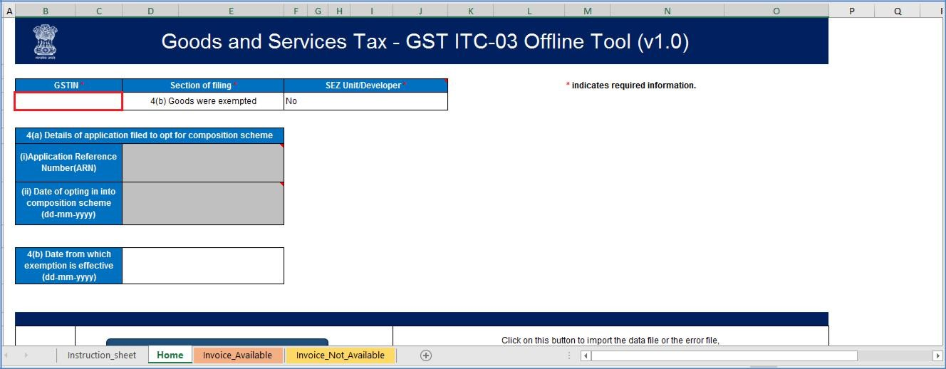 Step 2- Offline Filing of Form GST ITC-03