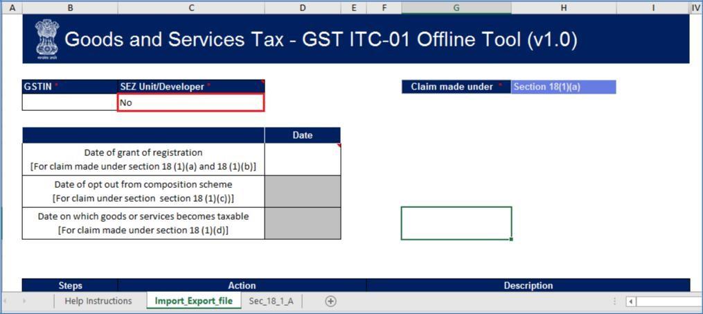 Step 3- Form GST ITC-01 Offline Tool