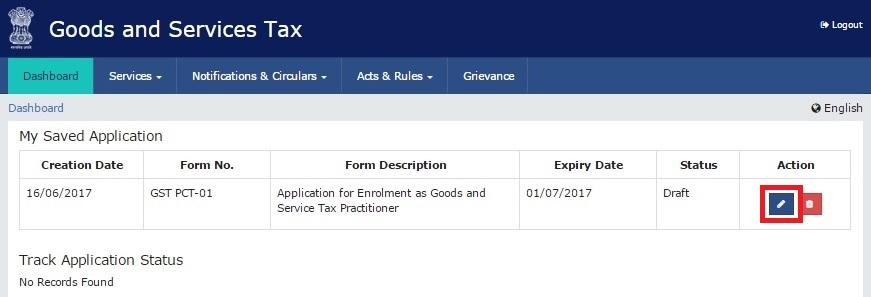 Step 4- GST Online Enrollment for Practitioners