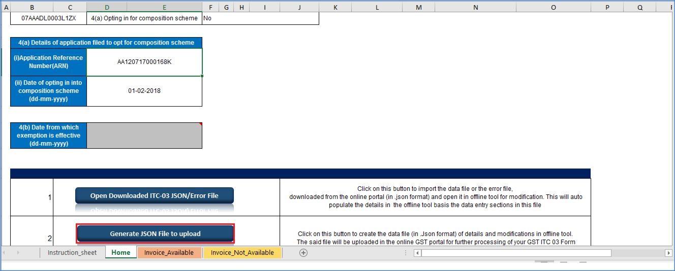 Step 4- Offline Filing of Form GST ITC-03