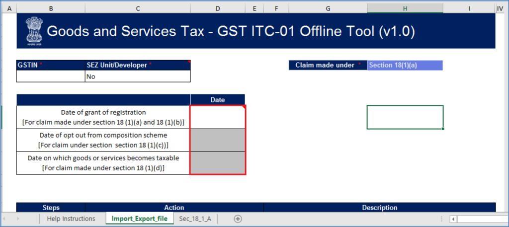 Step 5- Form GST ITC-01 Offline Tool