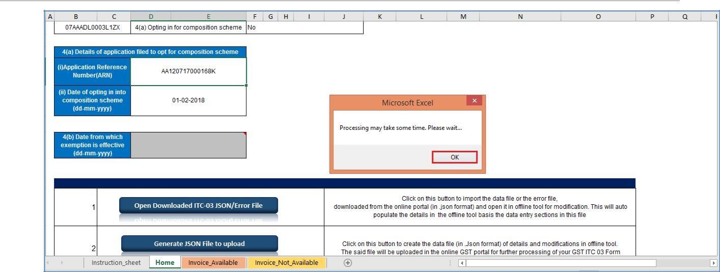 Step 5- Offline Filing of Form GST ITC-03