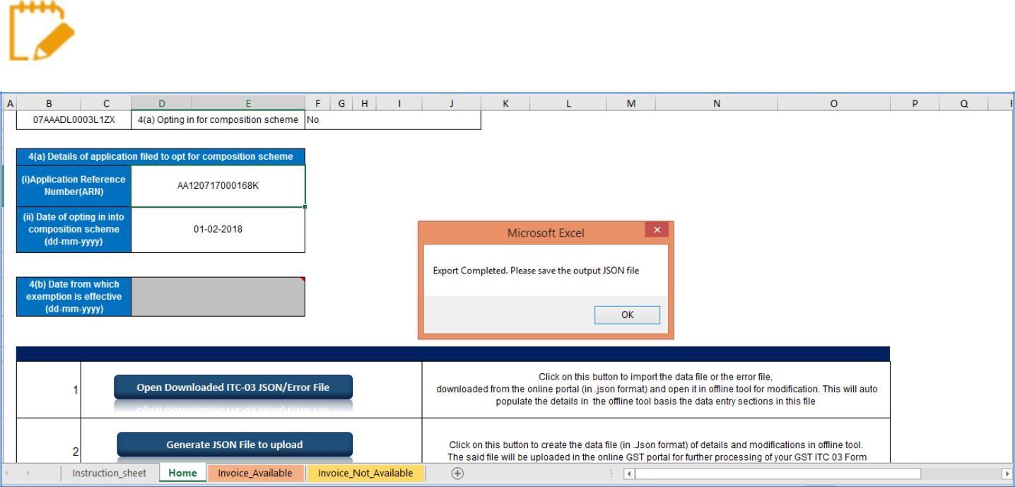 Step 6- Offline Filing of Form GST ITC-03