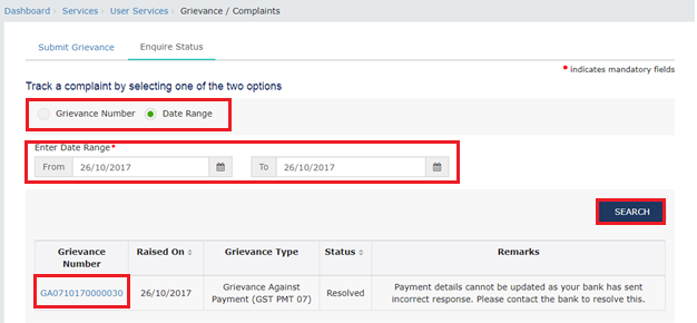 Step 6A- Filing GST Payment Related Grievances