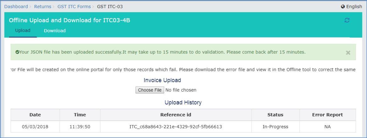 Step 7- Offline Filing of Form GST ITC-03