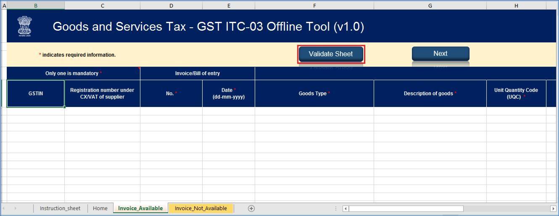 Step 8- Offline Filing of Form GST ITC-03