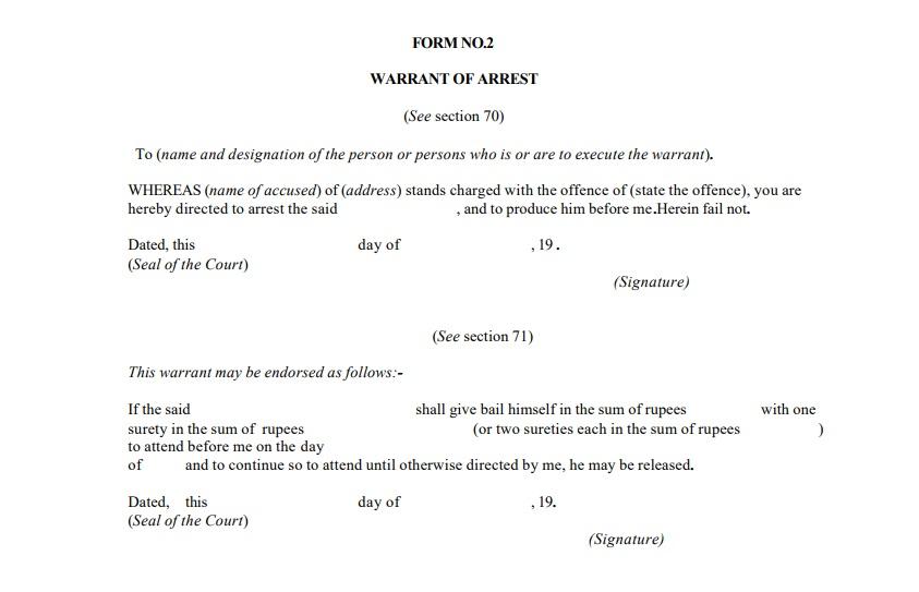 Arrest Warrant Format- CRPC