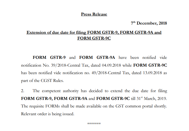 GSTR-9 extension press release