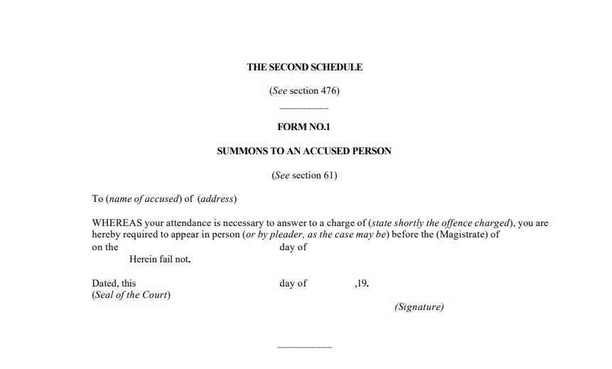 Form to Summon an Accused- CRPC