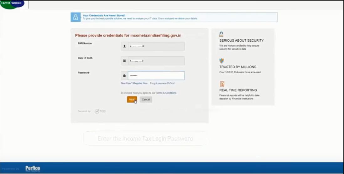 Income tax login in password
