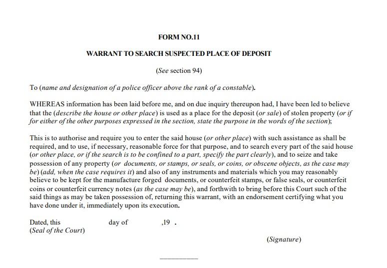 Search Warrant- CRPC