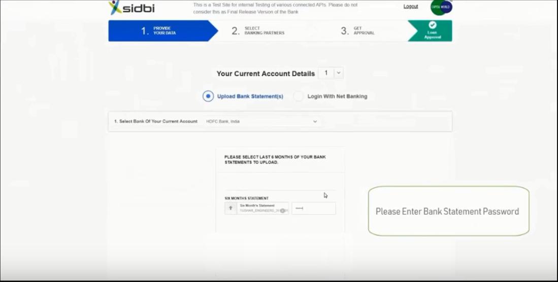 Upload Bank statements