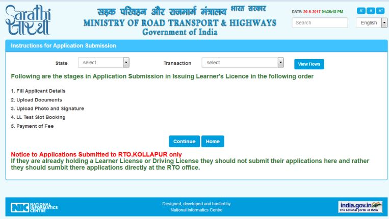 Learner's License - Application on Parivahan Portal